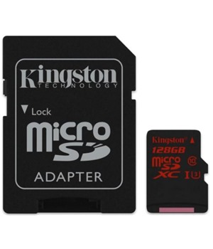 Kingston 128GB microSDXC UHS-I Class 10 U3 + adaptér (SDCA3/128GB)