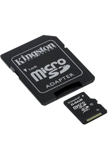 Kingston 64GB microSDXC Class 10 s adaptérem SD (SDC10G2/64GB)