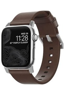 Nomad Leather Strap Brown řemínek pro Apple Watch 44/42 mm hnědý/stříbrný